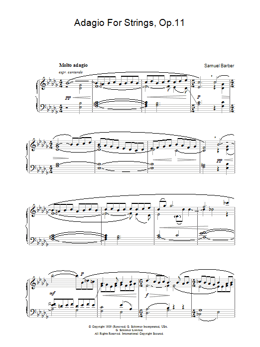 Adagio For Strings Op  11 - Sheet Music to Download