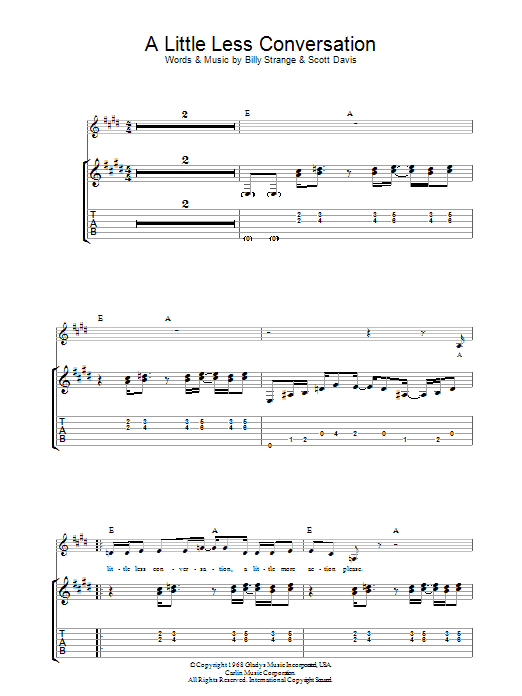A Little Less Conversation (Guitar Tab)