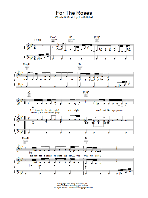 For The Roses Sheet Music