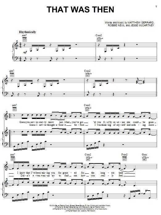 Partition piano That Was Then de Jesse McCartney - Piano Voix Guitare (Mélodie Main Droite)