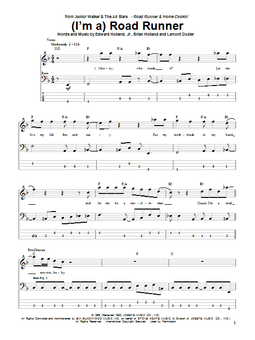 (I'm A) Road Runner Sheet Music