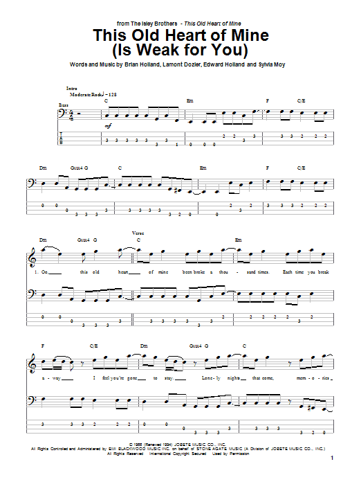 Tablature guitare This Old Heart Of Mine (Is Weak For You) de The Isley Brothers - Tablature Basse