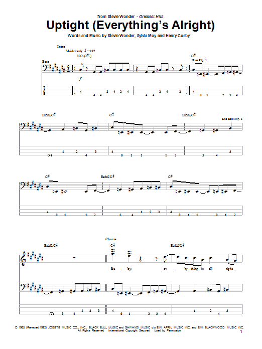 Tablature guitare Uptight (Everything's Alright) de Stevie Wonder - Tablature Basse