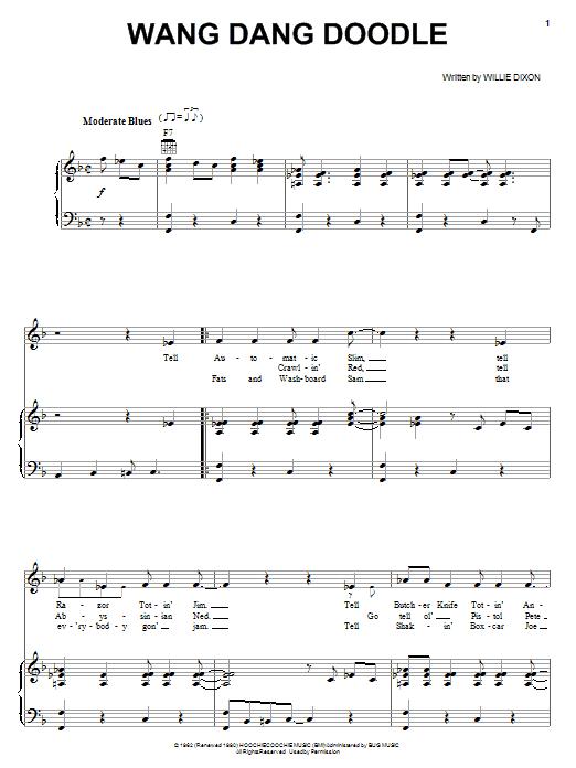 Partition piano Wang Dang Doodle de Howlin' Wolf - Piano Voix Guitare (Mélodie Main Droite)