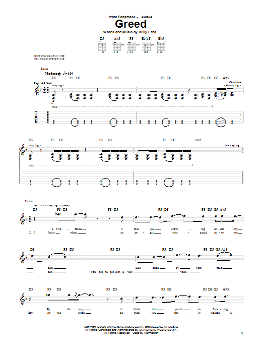 Greed Sheet Music