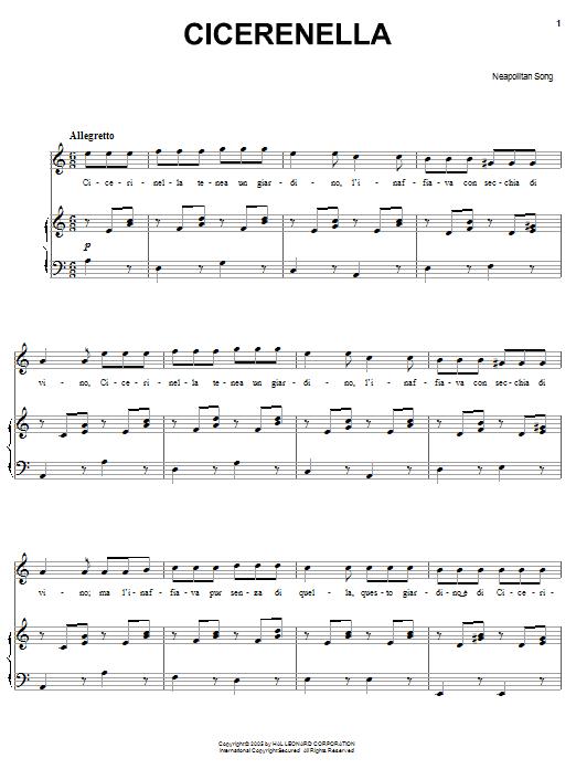 Partition piano Cicerenella de Neapolitan Song - Piano Voix Guitare (Mélodie Main Droite)
