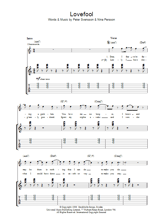 Lovefool by The Cardigans - Guitar Tab - Guitar Instructor