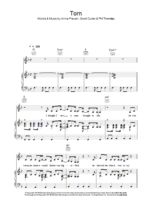 Torn (Piano, Vocal & Guitar)