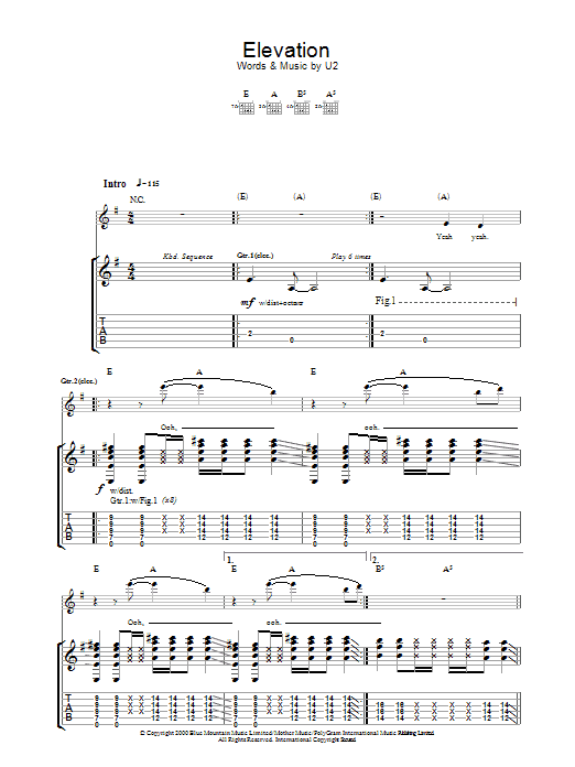 Elevation Sheet Music