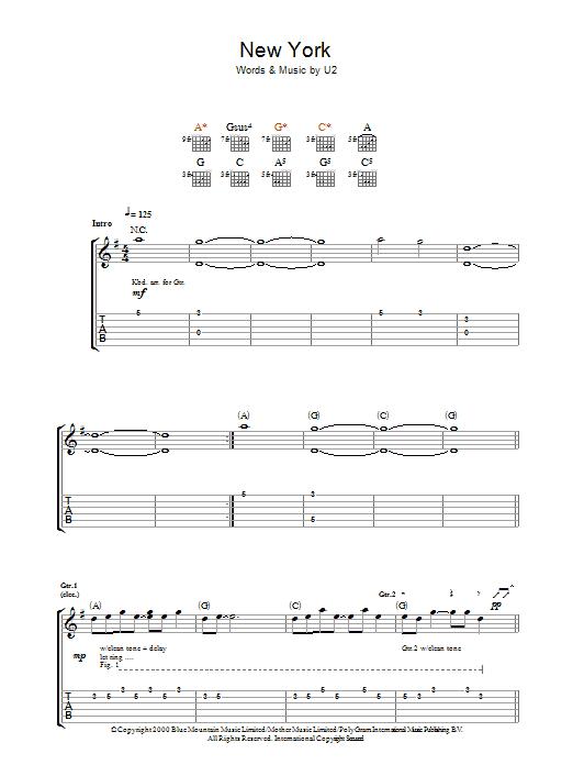 New York (Guitar Tab)