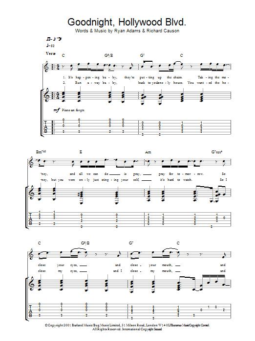 Goodnight, Hollywood Blvd (Guitar Tab)