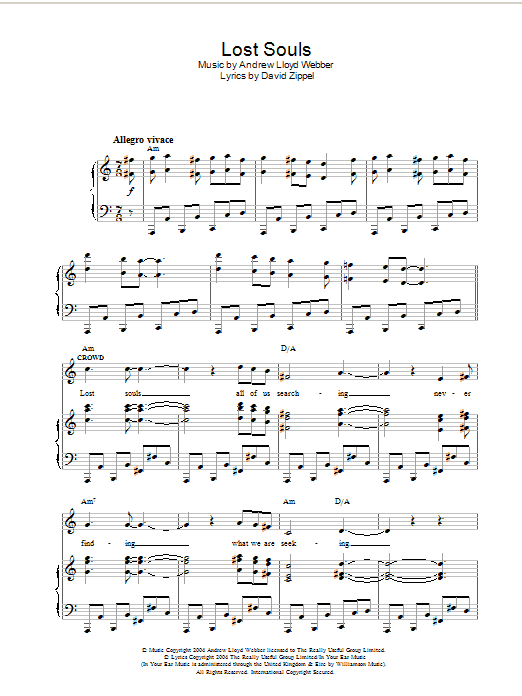 Lost Souls (from The Woman In White) Sheet Music