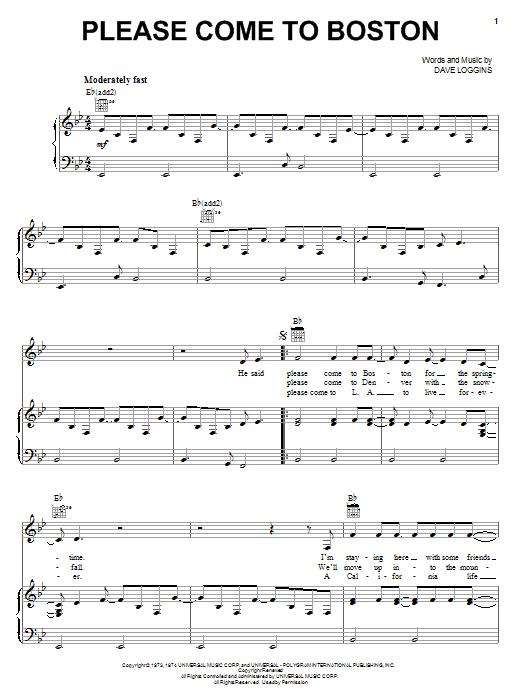 Please Come To Boston (Piano, Vocal & Guitar (Right-Hand Melody))