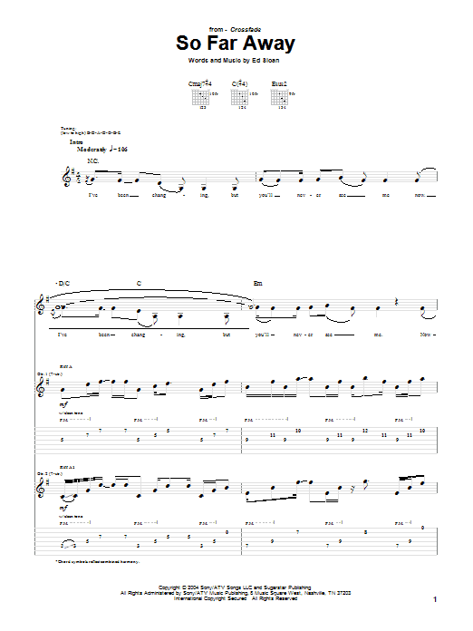 Tablature guitare So Far Away de Crossfade - Tablature Guitare