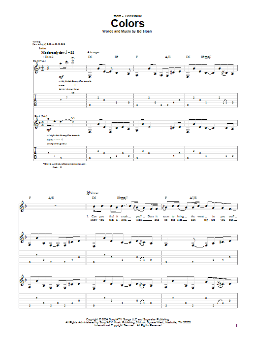 Tablature guitare Colors de Crossfade - Tablature Guitare