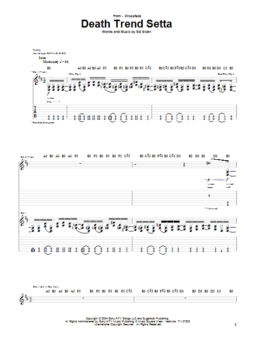 Tablature guitare Death Trend Setta de Crossfade - Tablature Guitare