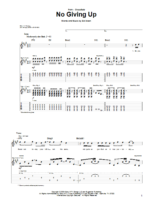 Tablature guitare No Giving Up de Crossfade - Tablature Guitare
