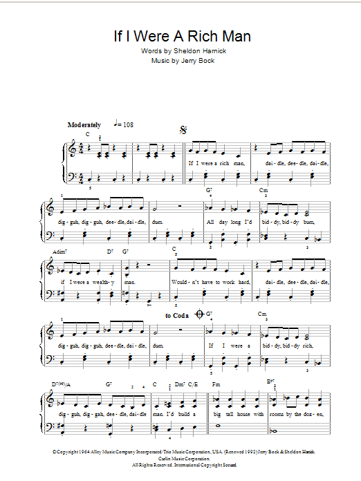If I Were A Rich Man (from Fiddler On The Roof) (Piano, Vocal & Guitar)