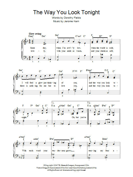 The Way You Look Tonight Sheet Music Rod Stewart Beginner Piano