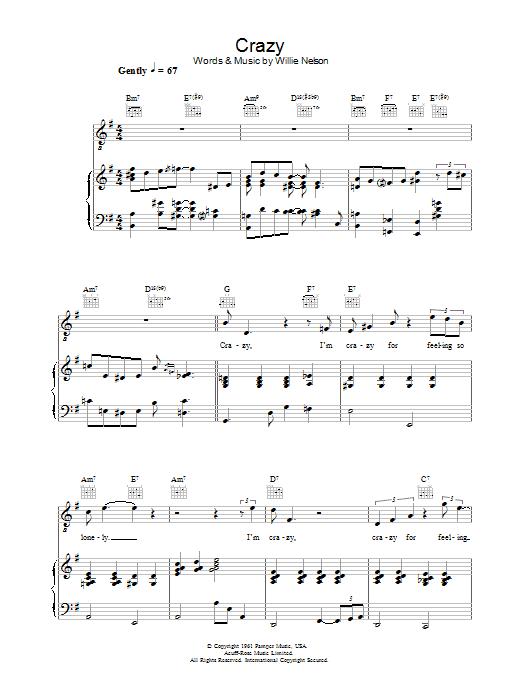 Crazy (Piano, Vocal & Guitar)
