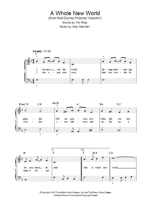 A Whole New World From Aladdin Alan Menken Beginner Piano