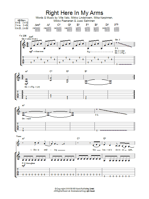 Right Here In My Arms Sheet Music