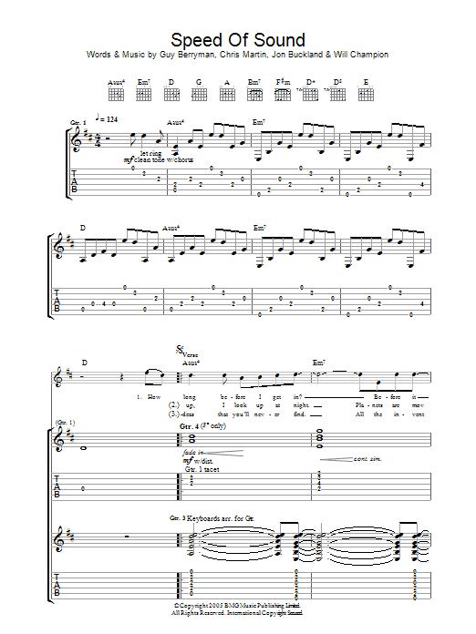 Speed Of Sound (Guitar Tab)