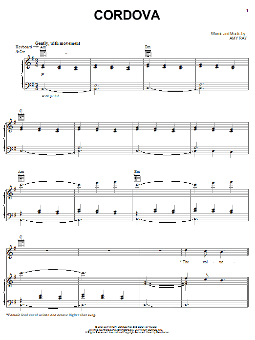Cordova Sheet Music