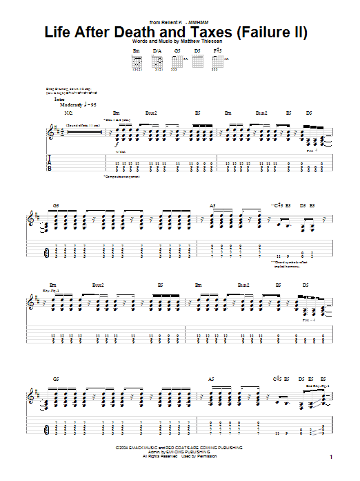 Life After Death And Taxes (Failure II) Sheet Music