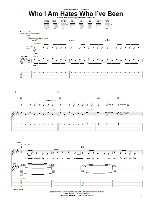 Who I Am Hates Who Ive Been Sheet Music Relient K Guitar Tab