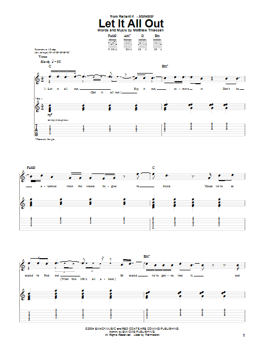 Let It All Out Sheet Music