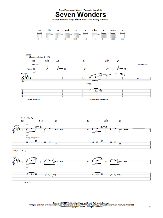 Tablature guitare Seven Wonders de Fleetwood Mac - Tablature Guitare