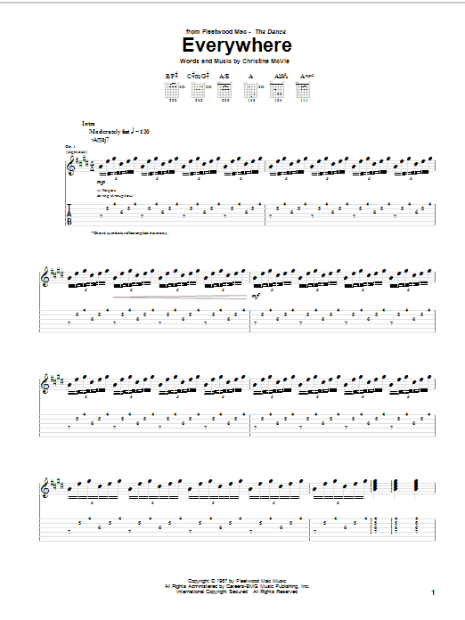 Tablature guitare Everywhere de Fleetwood Mac - Tablature Guitare