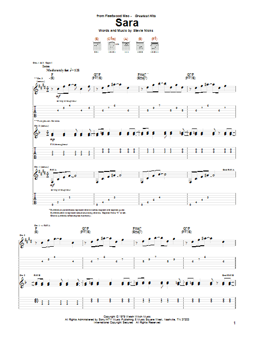 sara sheet music fleetwood mac guitar tab. Black Bedroom Furniture Sets. Home Design Ideas