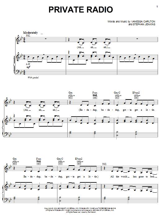 Private Radio (Piano, Vocal & Guitar (Right-Hand Melody))