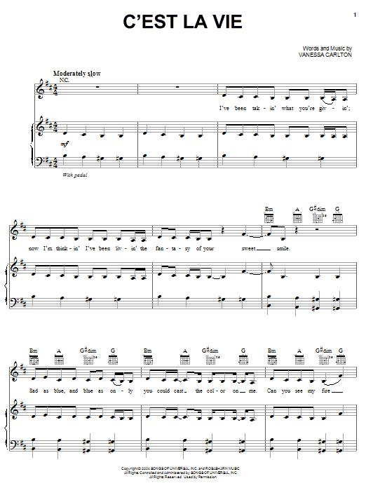 C'est La Vie (Piano, Vocal & Guitar (Right-Hand Melody))