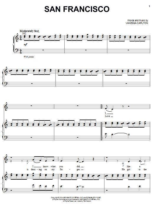 San Francisco (Piano, Vocal & Guitar (Right-Hand Melody))