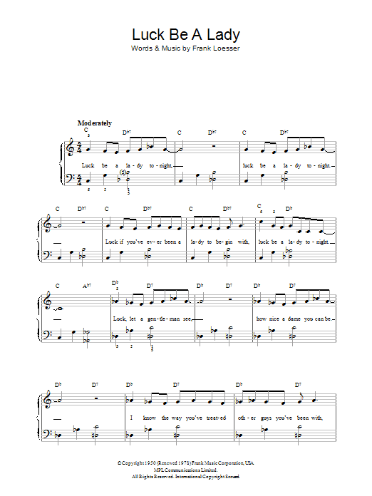 Luck Be A Lady (Easy Piano)