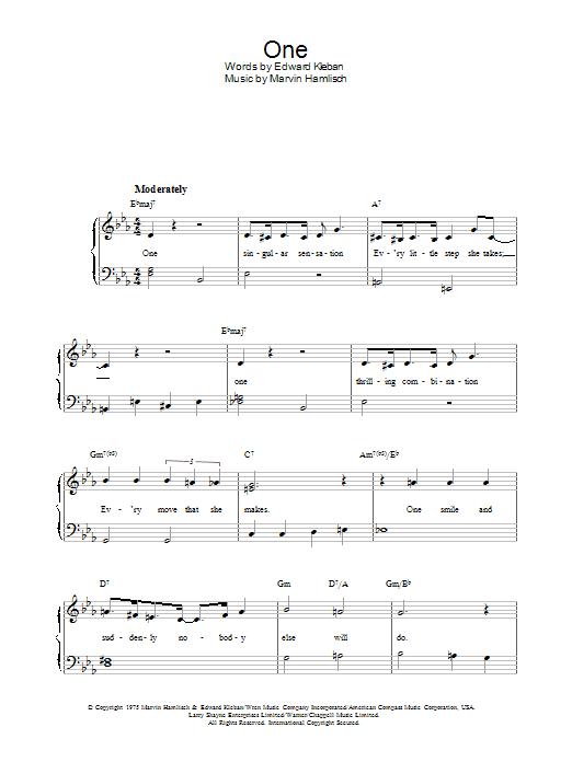 One (from A Chorus Line) (Piano, Vocal & Guitar)