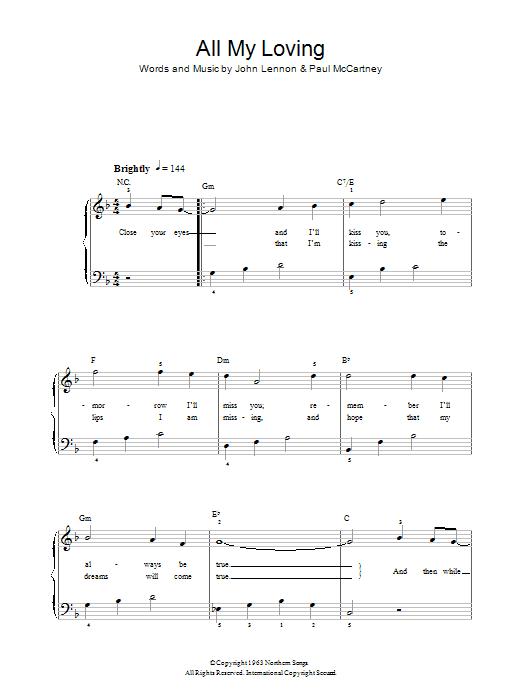 All My Loving (Easy Piano)
