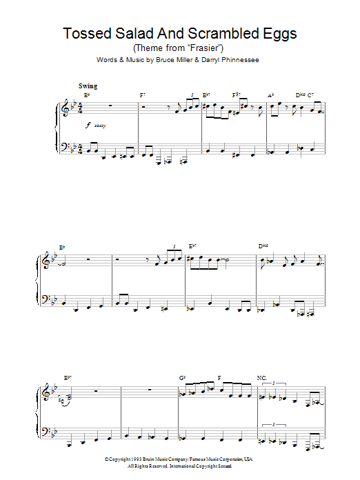 Tossed Salad And Scrambled Eggs (theme from Frasier) Sheet Music
