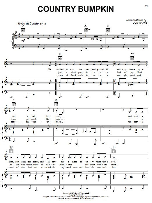 Country Bumpkin (Piano, Vocal & Guitar (Right-Hand Melody))