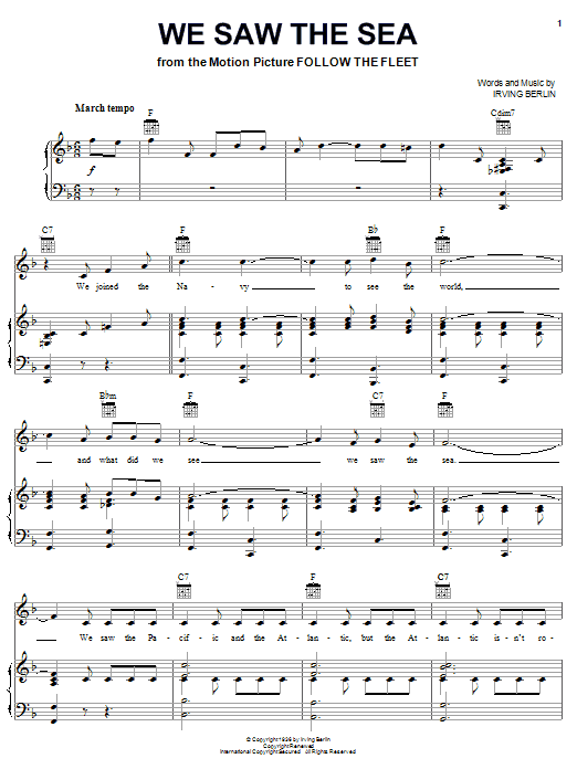 We Saw The Sea (Piano, Vocal & Guitar (Right-Hand Melody))