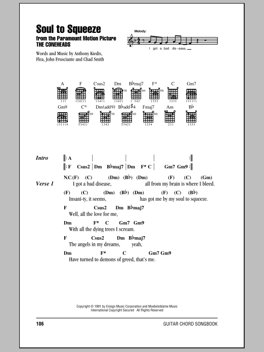 Soul To Squeeze (Guitar Chords/Lyrics)
