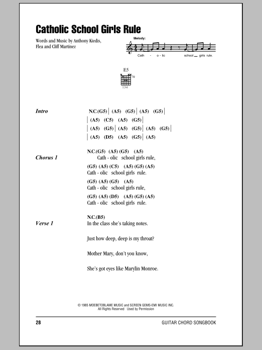 Catholic School Girls Rule (Guitar Chords/Lyrics)