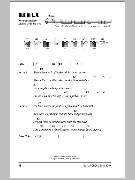Out In L.A. Sheet Music