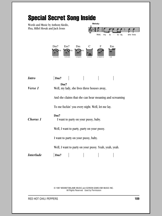 Special Secret Song Inside Sheet Music