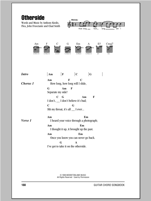 Otherside (Guitar Chords/Lyrics)