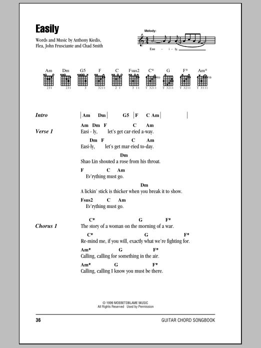 Easily (Guitar Chords/Lyrics)