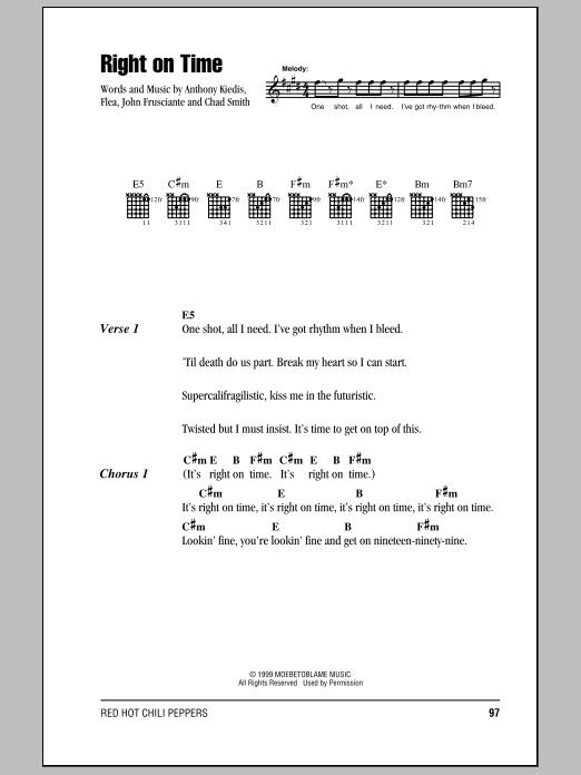 Right On Time (Guitar Chords/Lyrics)